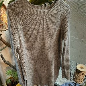 Gray knit sweater dress with slits on the sides